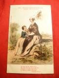 Ilustrata Vechi costum popular normand - mama si fiica ,circ. 1936 Franta