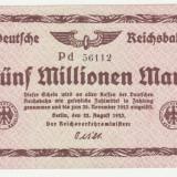 (1) BANCNOTA GERMANIA - DEUTSCHE REICHSBAHN - 5.000.000 MARK 1923 (22 AUGUST 1923) - UNIFATA