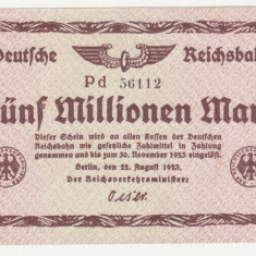 (1) BANCNOTA GERMANIA - DEUTSCHE REICHSBAHN - 5.000.000 MARK 1923 (22 AUGUST 1923) - UNIFATA