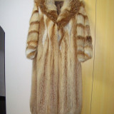 Haina din blana de vulpe roscata, Marime: 46, Culoare: Din imagine