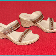 NOI, DE FIRMA → Saboti dama, piele, eleganti, aerisiti, GEOX → femei   nr. 40 - Sandale dama Geox, Culoare: Bej, Piele naturala