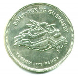 BAILIWIK OF GUERNESEY  MAREA BRITANIE ANGLIA MONEDA JUBILIARA 25 PENCE 1952-1977 STARE AUNC MONEDA DE DIMENSIUNI MARI