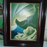 Tablou religios pe pinza, cu rama frumoasa . reducere - Pictor roman