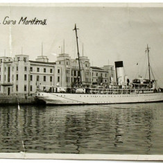 CARTE POSTALA ANUL 1938 : CONSTANTA - GARA MARITIMA, NAVA REGELE CAROL I