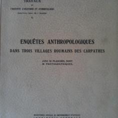 Dr. Fr. Rainer - Trei Anchete Antropologice in trei sate din Carpati / 1939 - dedicatia autorului, format mare, planse fotografice - RARITATE ABSOLUTA