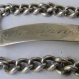 Bratara veche din argint gravata Damian