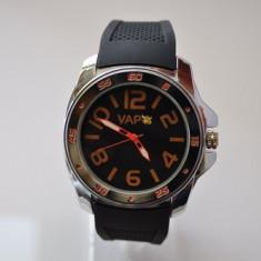 Ceas VAPO curea silicon cadran negru scris portocaliu - Ceas unisex