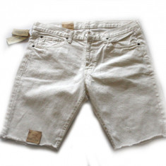Pantaloni scurti blug Ralp Lauren albi talie 33 si 34 (reducere finala) - Bermude barbati Ralph Lauren