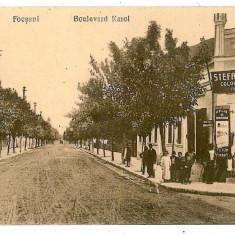 388 - Vrancea, FOCSANI, Ave. Carol, shops - old postcard - unused - Carte Postala Moldova 1904-1918, Necirculata, Printata