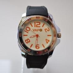 Ceas VAPO curea silicon cadran alb scris portocaliu - Ceas unisex