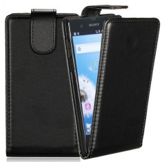 Toc piele neagra Sony Xperia Z L36H + folie protectie ecran + expediere gratuita Posta - Husa Telefon Sony, Negru, Piele Ecologica, Husa