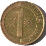 G5. FINLANDA 1 MARKKA MARCA 1993, 5 g., Aluminum-Bronze, 22.2 mm **, Europa