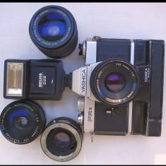 Aparat foto cu film Yashica FR 2+winder+4 obiective, SLR, Mic