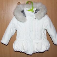 Geaca SUBERBA cu blana naturala fetite - 18-24 luni, Marime: XS, Culoare: Alb