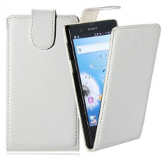 Toc piele alba Sony Xperia Z L36H + folie protectie ecran + expediere gratuita - Husa Telefon Sony, Piele Ecologica