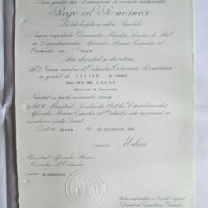 RARISIM!!! BREVET MIHAI I ORDINUL COROANA ROMANIEI IN GRAD DE OFITER DIN 23 SEP.1941