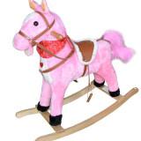 Calut balansoar muzical si misca coada din plus pentru copii avem roz si maro - Balansoar interior