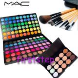 Trusa machiaj profesionala 120 culori MAC + set 7 pensule make-up  cu borseta + Fond de ten / Paleta Corectoare / Concelear 15 - CEL MAI MIC PRET -, Mac Cosmetics