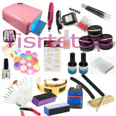 Set unghii false ce contine Lampa UV Freza Gel Color set 12 CANNI Gel constructie COCO Sabloane Tipsuri Pensule SET COMPLET, KIT unghii false