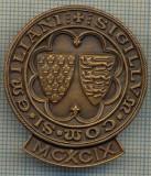 1473 INSIGNA INTERESANTA(cu talpa) -SIGILLVM COM SI EMILIANI -MCXCIX -ARTHUS BERTRAND PARIS- masonica?-vinuri de marca? -starea care se vede.