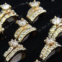 Inel Fashion Din Cubic Zirconiu 2 in 1 - Marimi Diferite Si Modele Diferite - VEDETI POZE! - Inel placate cu aur