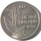 G5. FINLANDA 10 PENNIA 1992, 1.80 g., Copper-Nickel, 16.3 mm LACRAMIOARE **, Europa