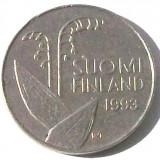 G5. FINLANDA 10 PENNIA 1993, 1.80 g., Copper-Nickel, 16.3 mm LACRAMIOARE **, Europa