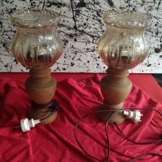 Veioza Lemn cu abajurul din sticla - Set vintage !!!, Veioze