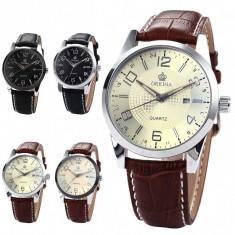 Ceas Foarte Elegant ORKINA Barbatesc Quartz - 4 Modele Diferite - Ceas barbatesc, Inox, Piele, Data