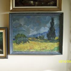"Ulei pe panza reproducere Van Gogh ""Lan de grau cu chiparosi"""