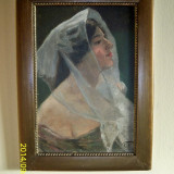 Tablou portret superb Femeie cu voal Kossuth Peter ulei pe carton