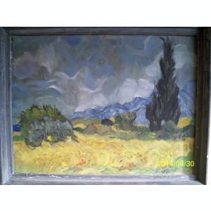 Ulei pe panza reproducere Van Gogh Lan de grau cu chiparosi