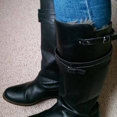 Cizme negre Zara piele naturala 36 - Cizma dama Zara, Culoare: Negru