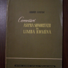 CERCETARI ASUPRA SONORITATII IN LIMBA ROMANA - ANDREI AVRAM (1961)