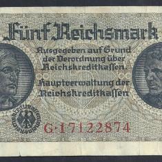 GERMANIA NAZISTA 5 MARK MARCI 1939 1940 1945 P-R138b, cu Zvastica, WWII [8] VF++ - bancnota europa