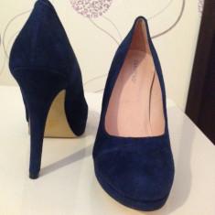 Pantofi dama piele - PE STOC - VANZATOR PREMIUM ! - Pantof dama, Culoare: Bleumarin, Marime: 40, Piele intoarsa, Cu toc