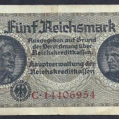 GERMANIA NAZISTA 5 MARK MARCI 1939 1940 1945 P-R138b, cu Zvastica, WWII [10] VF+ - bancnota europa