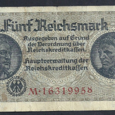 GERMANIA NAZISTA 5 MARK MARCI 1939 1940 1945 P-R138b, cu Zvastica, WWII [11] VF - bancnota europa