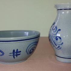 Canceu Ulcior pentru vin 1, 5l, 21, 5cm H. + Bol ceramica veche 11cm H. 23, 5cm D. - Arta Ceramica
