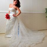 Rochie de mireasa cu trena lunga detasabila, eleganta, tip sirena