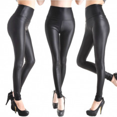 Colanti pantaloni piele ecologica latex negru lucios wet look - Colanti dama, Marime: S, M, L, XL, 38-40, Normali