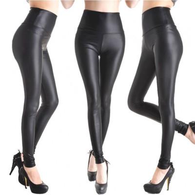 Colanti pantaloni piele ecologica latex negru lucios wet look foto
