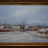 ANGHEL VASILE SIMINIUC - Pictura - Ulei pe panza - Iarna la Ilisesti - 60 X 40 !, Peisaje, Realism