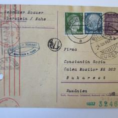 RARA! C.P. 1942 EXPEDIATA DIN GERMANIA IN ROMANIA CU CENZURI NAZISTE SI EXTERNE, Circulata, Printata, Romania 1900 - 1950