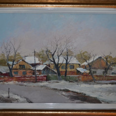 ANGHEL VASILE SIMINIUC - Pictura - Ulei pe carton - Peisaj de iarna - 60 X 45 !