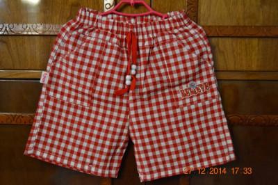 Pantaloni scurti carouri rosu/alb foto