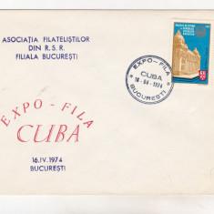 Bnk cp Plic ocazional Expo-fila Cuba Bucuresti 1974