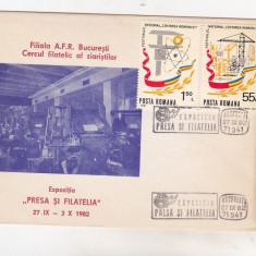 Bnk cp Plic ocazional Expozitia Presa si Filatelia 1982