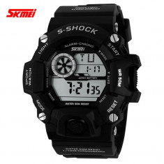 Ceas Subacvatic SKMEI S-Shock MILITARY ARMY Sport Alarma Calendar 4 CULORI, Lux - sport, Quartz, Inox