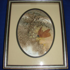 Impresionanta pictura realizata in acuarela pe carton de artista Donna Watson(1)